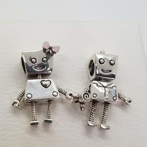 new set 2 Pandora Bella Bot & Rob Bot Charms